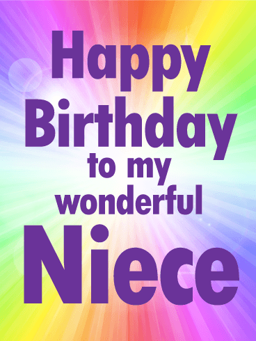To my Wonderful Niece - Rainbow Happy Birthday Card