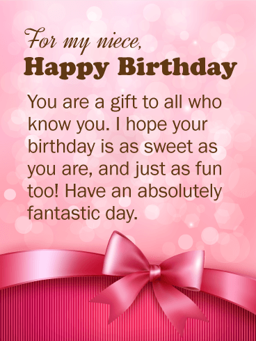 You are a Gift! Happy Birthday Wishes Card for Niece