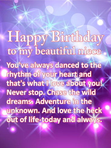 Chase the Wild Dreams - Happy Birthday Wishes Card for Niece