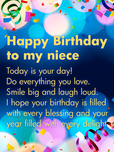 To my beautiful niece happy birthday card birthday greeting happy birthday wishes card for niece bookmarktalkfo Gallery