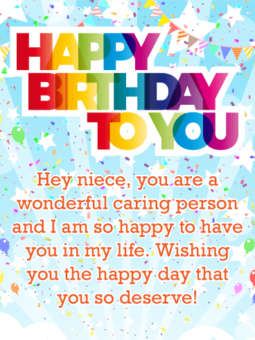 You are a Wonderful Person - Happy Birthday Card for Niece