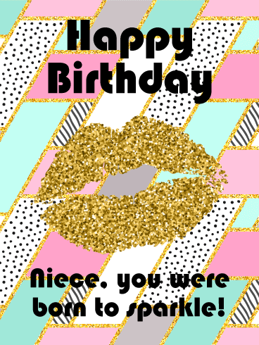 You were Born to Sparkle! Happy Birthday Card for Niece