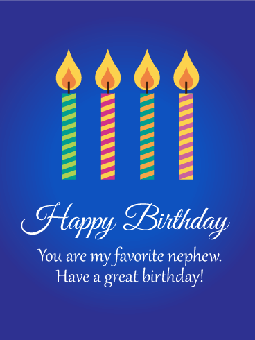 To My Favorite Nephew Birthday Card Birthday Greeting Cards By