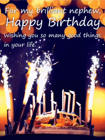 Sparkle Happy Birthday Cake For Nephew Birthday Greeting Cards