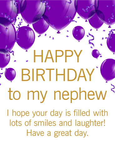 Purple Birthday Balloon Card For Nephew