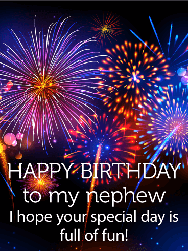 Colorful Birthday Fireworks Card for Nephew