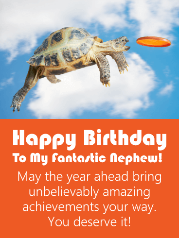 Amazing Turtle Funny Birthday Card for Nephew