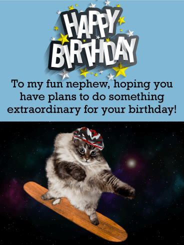 Skateboarding Cat Funny Birthday Card for Nephew