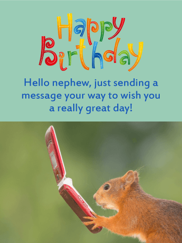 A Message From Squirrel   Funny Birthday Card For Nephew