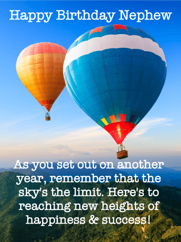 Sky's the Limit! Happy Birthday Card for Nephew
