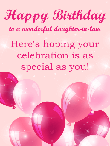 Pink Balloon Happy Birthday Card For Daughter In Law
