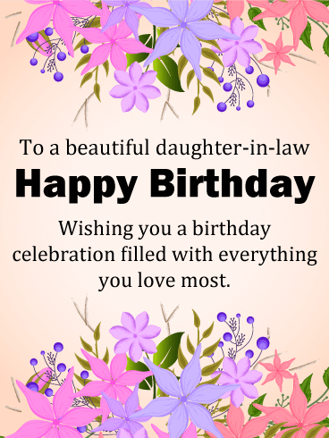 To A Beautiful Daughter In Law Happy Birthday Wishing You Celebration