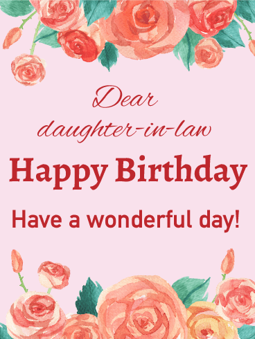 Rose happy birthday card for daughter in law birthday greeting rose happy birthday card for daughter in law bookmarktalkfo Images