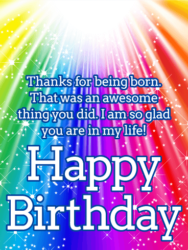 Shining Rainbow Happy Birthday Wishes Card
