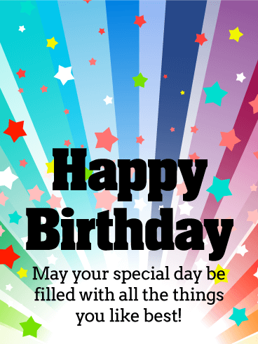 Rainbow Star Happy Birthday Card