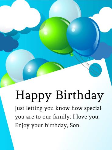 To My Special Son Birthday Balloon Card Birthday Greeting