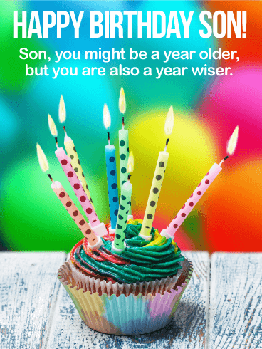 Older But Wiser - Happy Birthday Wishes Card for Son