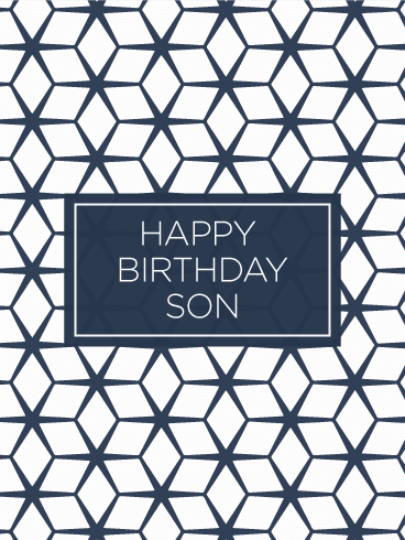 Geometric Modern Happy Birthday Card for Son