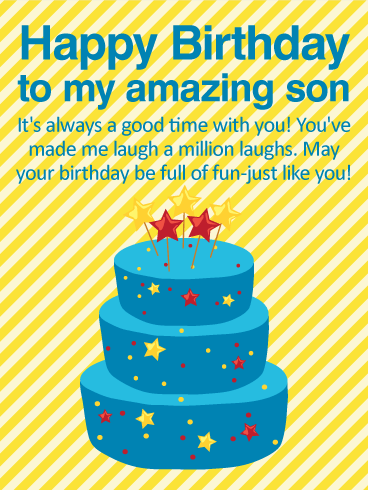 Always Good Time With You - Happy Birthday Wishes Card for Son