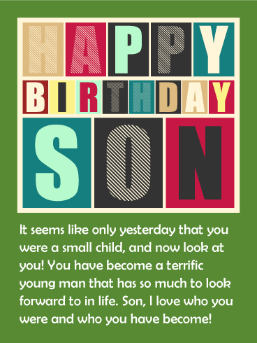 To a Terrific Man - Happy Birthday Wishes Card for Son