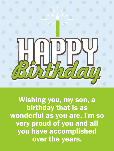 So Proud of You! Happy Birthday Wishes Card for Son