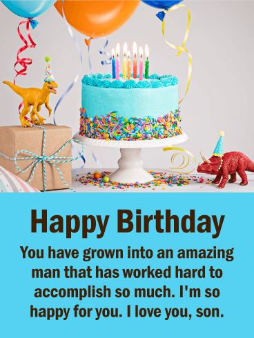 I'm Happy for You! Happy Birthday Wishes Card for Son