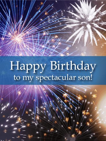 Spectacular Fireworks Happy Birthday Card for Son