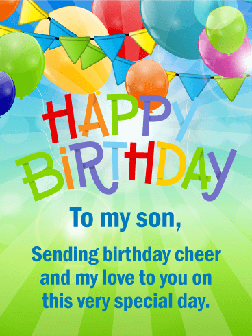 Cheerful Happy Birthday Card For Son