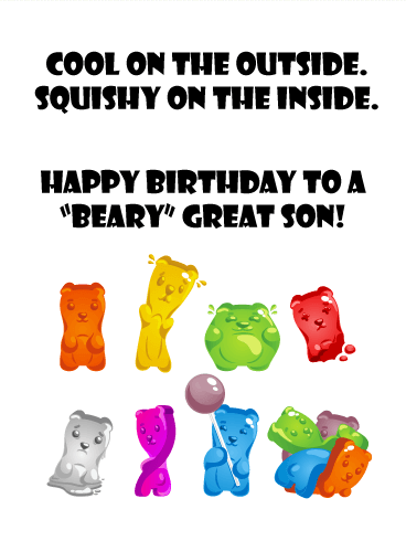 "To a ""Beary"" Great Son - Funny Birthday Card"