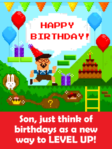 New Way to Level Up! Funny Birthday Card for Son