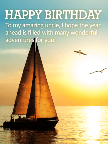 Many Adventures for You! Happy Birthday Wishes Card for Uncle