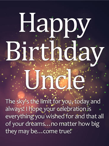 Sparkle Happy Birthday Wishes Card for Uncle