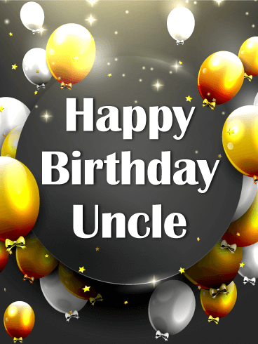Gold & Silver Birthday Balloon Card for Uncle
