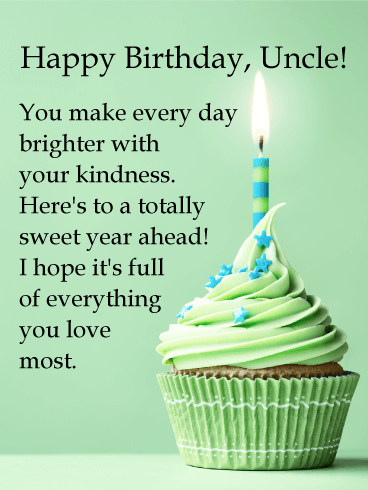 Green Cupcake Happy Birthday Wishes Card For Uncle