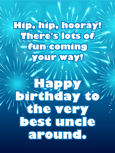 Hip Hip Hooray! Happy Birthday Card for Uncle
