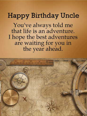 To the Best Adventure - Happy Birthday Card for Uncle