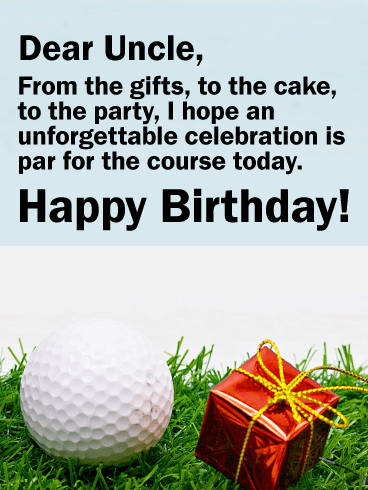 Golf Themed Happy Birthday Card for Uncle