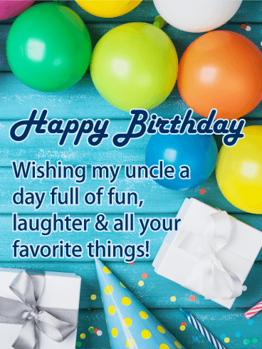Colorful Balloon Happy Birthday Card For Uncle Birthday Greeting