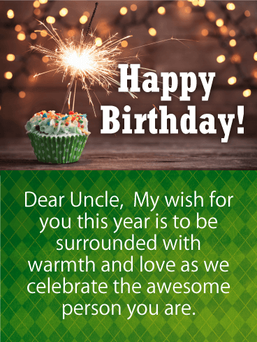 Green Birthday Cake Card for Uncle