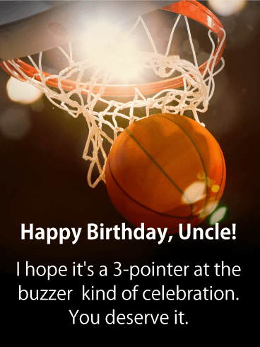 3-Pointer Happy Birthday Card for Uncle