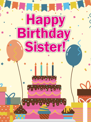 Festive Happy Birthday Card for Sister
