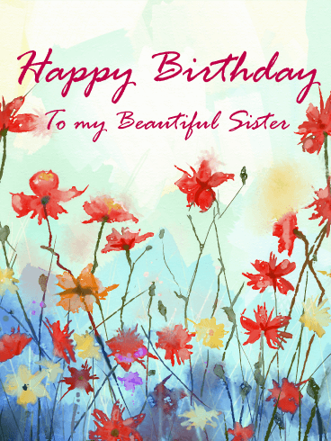 Painting Flower Happy Birthday Card for Sister