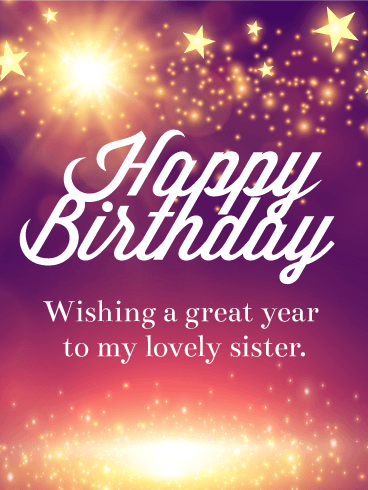 Shining Star Happy Birthday Card for Sister