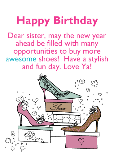 Love Shoes! Happy Birthday Card for Sister