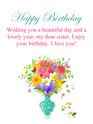 Colorful Flower Happy Birthday Card for Sister