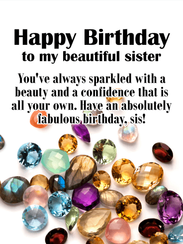 Jewel Happy Birthday Card for Sister