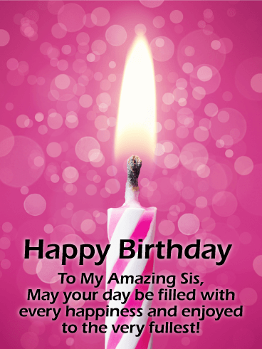 Pink Birthday Candle Card for Sister