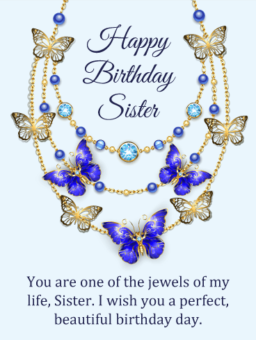 Golden Jewelry Happy Birthday Card for Sister