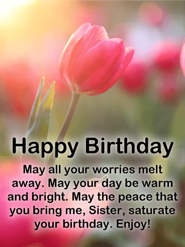 Sunlight Tulip Happy Birthday Card for Sister