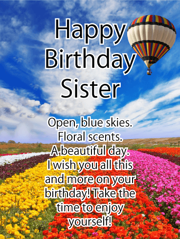 Blue Sky! Happy Birthday Card for Sister